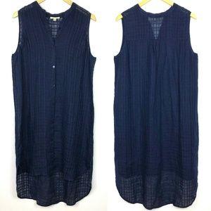 Eileen Fisher Navy Linen Button Down Tank Dress